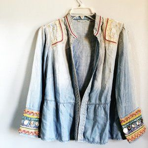 Tops - Open Front Chambray Top with Boho Detail Coins